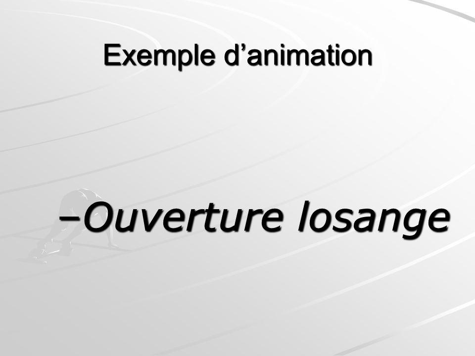 Exemple d'animation Ouverture losange