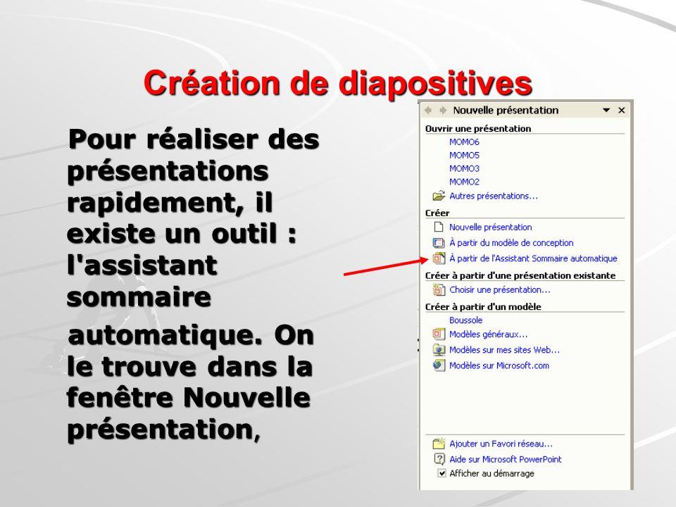 Création de diapositives