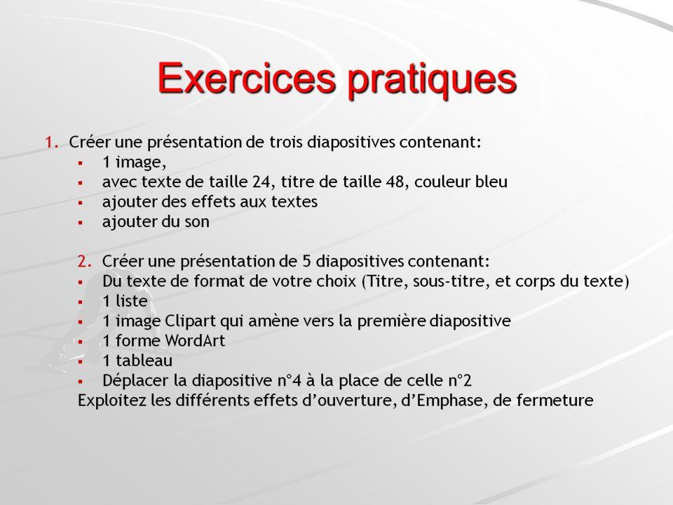 Exercices pratiques