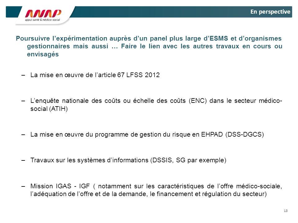 La mise en œuvre de l'article 67 LFSS 2012