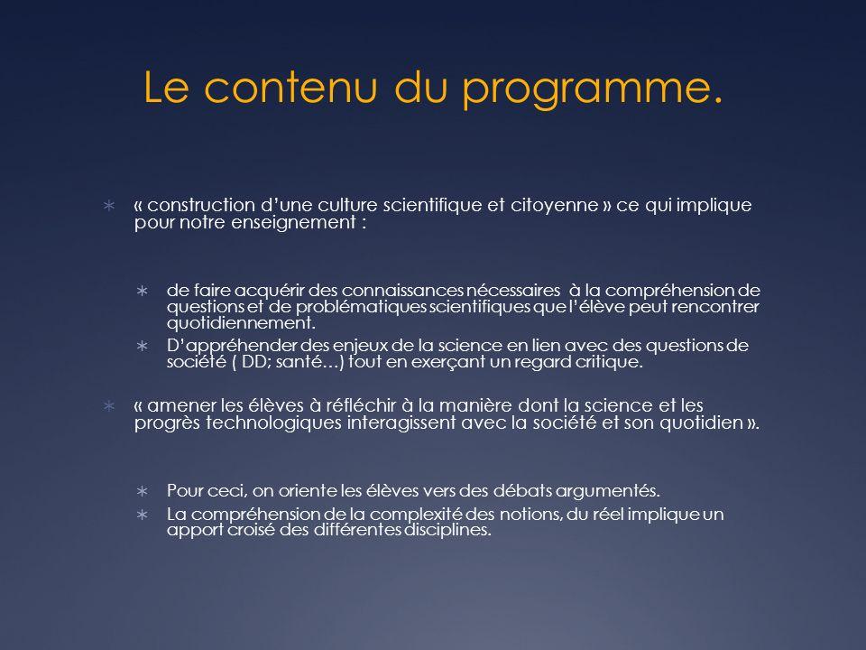 Le contenu du programme.