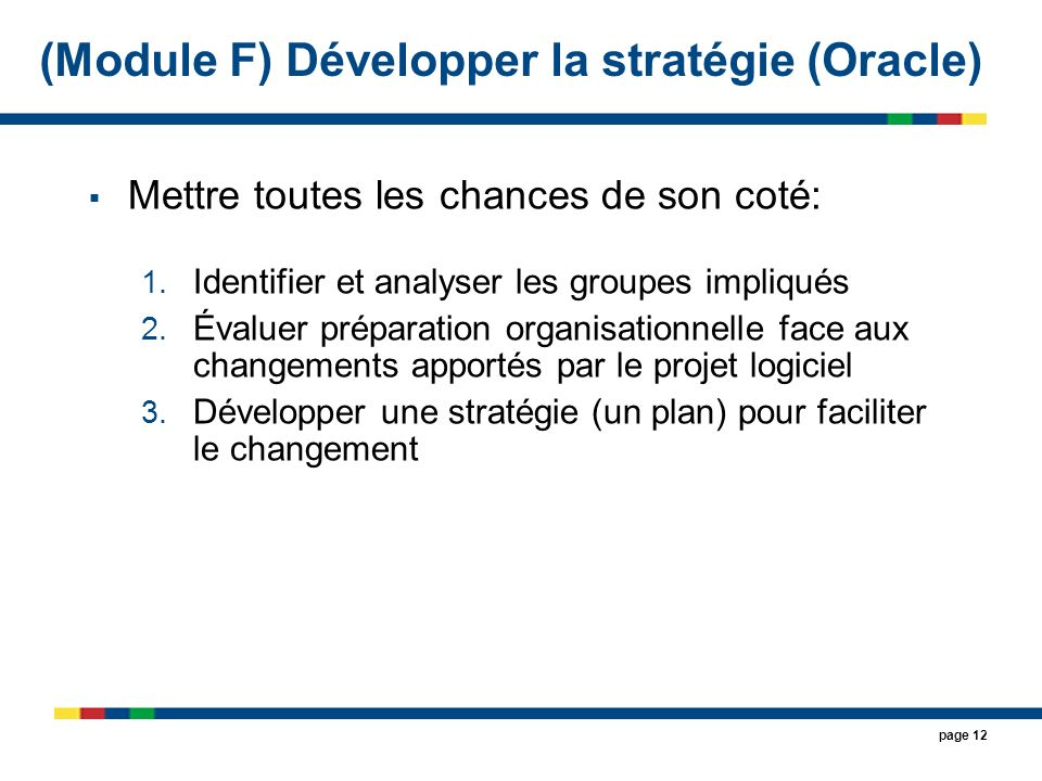 (Module F) Développer la stratégie (Oracle)