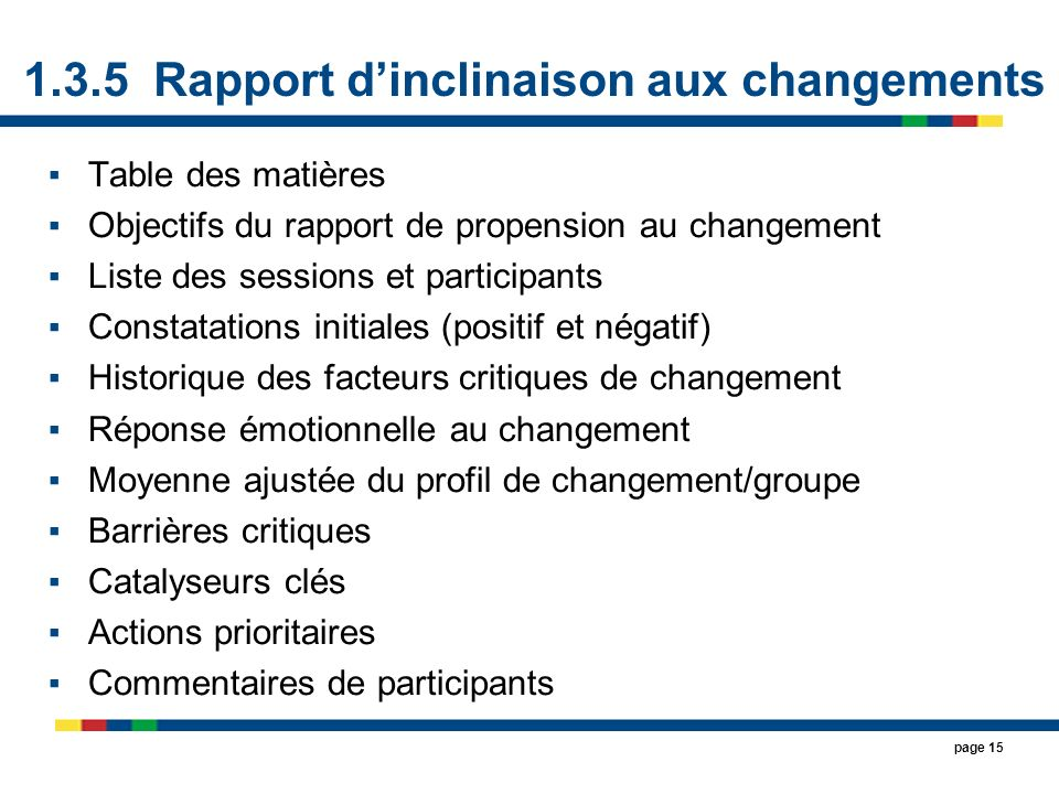1.3.5 Rapport d'inclinaison aux changements