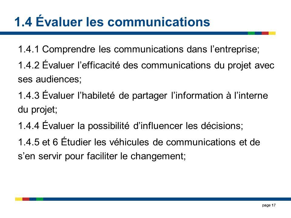 1.4 Évaluer les communications