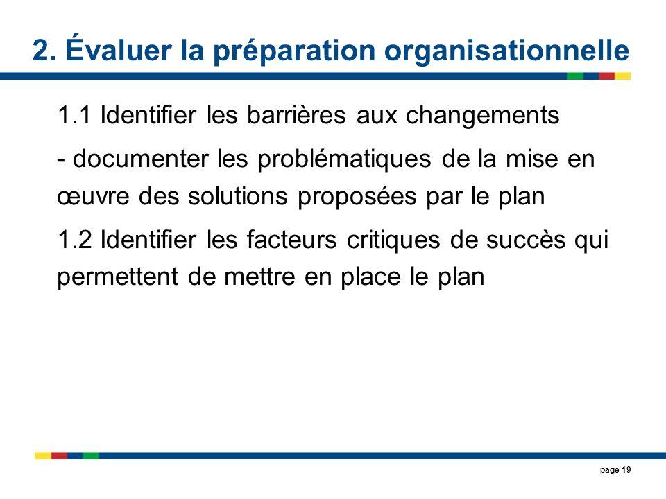 2. Évaluer la préparation organisationnelle