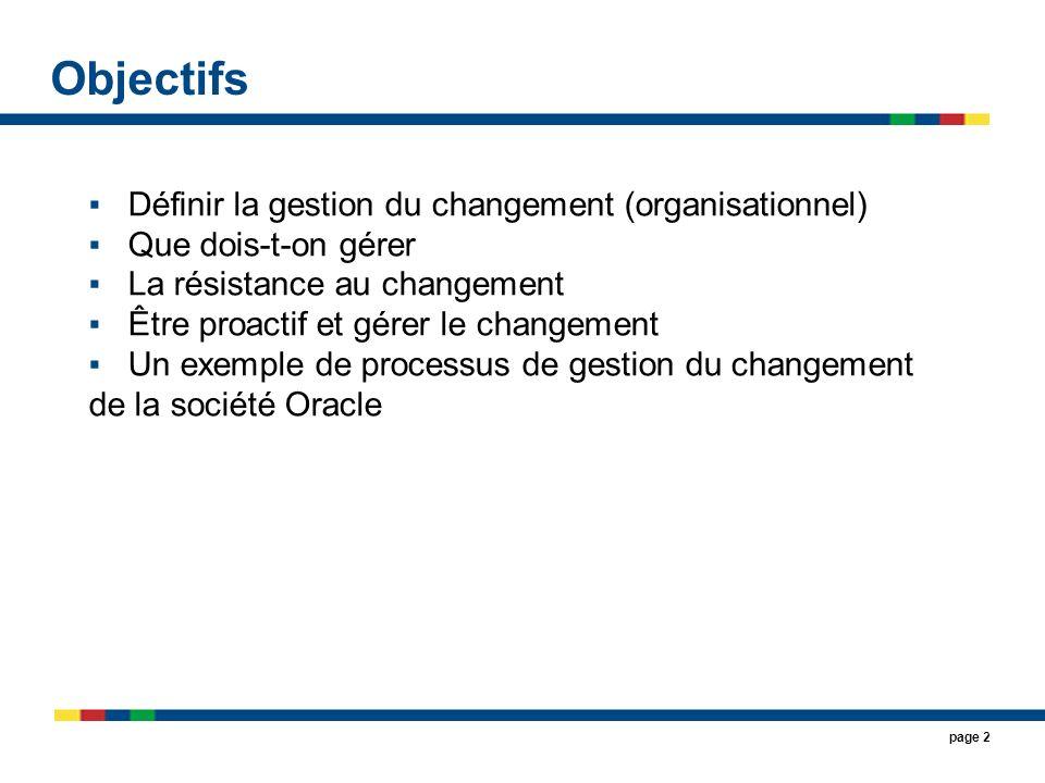 Objectifs Définir la gestion du changement (organisationnel)