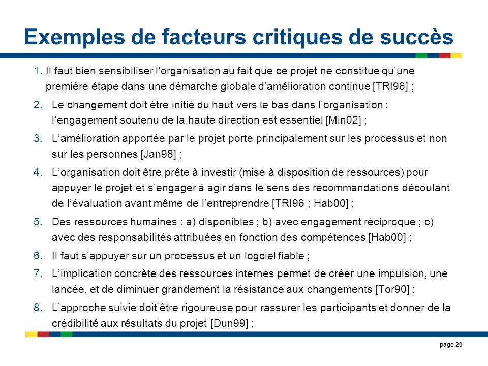 Exemples de facteurs critiques de succès