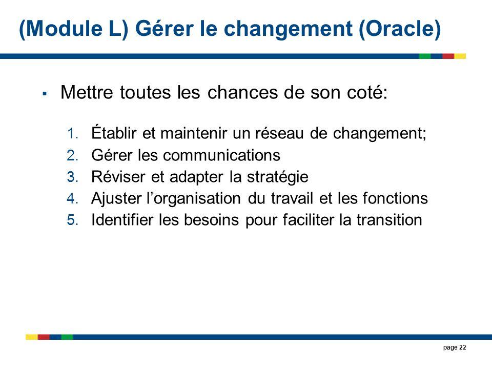 (Module L) Gérer le changement (Oracle)