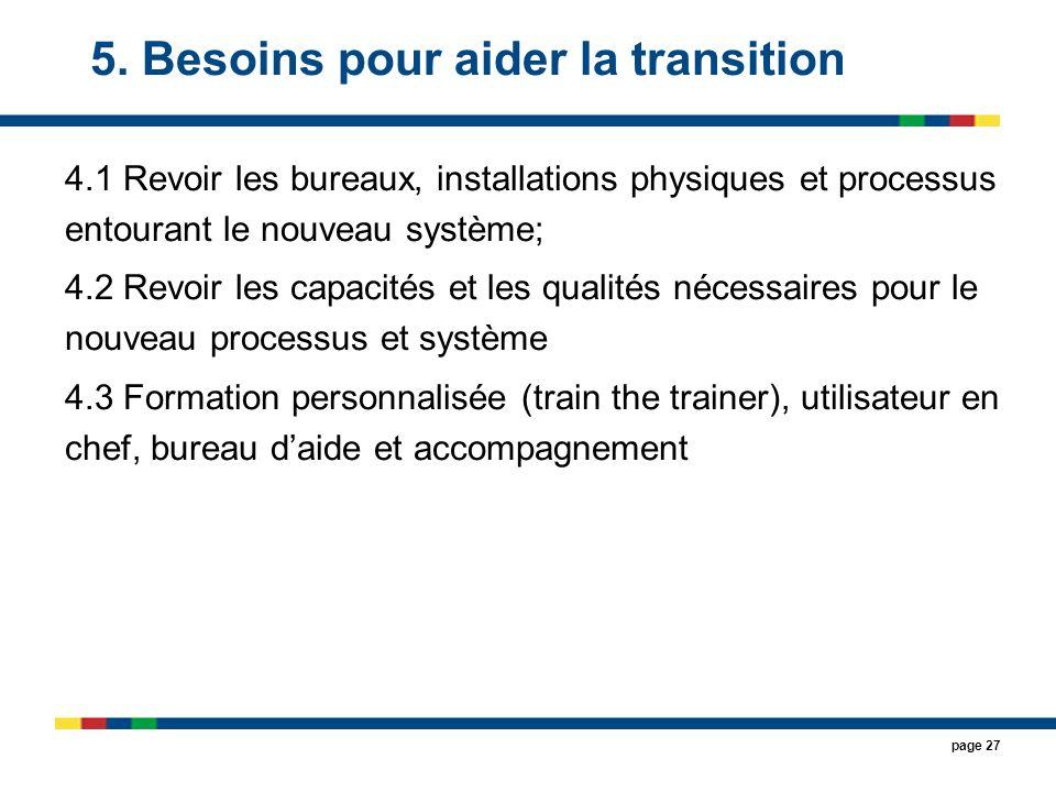 5. Besoins pour aider la transition