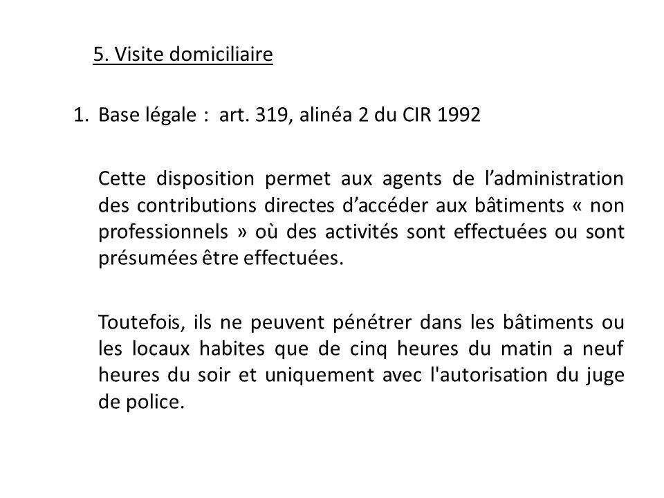 Base légale : art. 319, alinéa 2 du CIR 1992