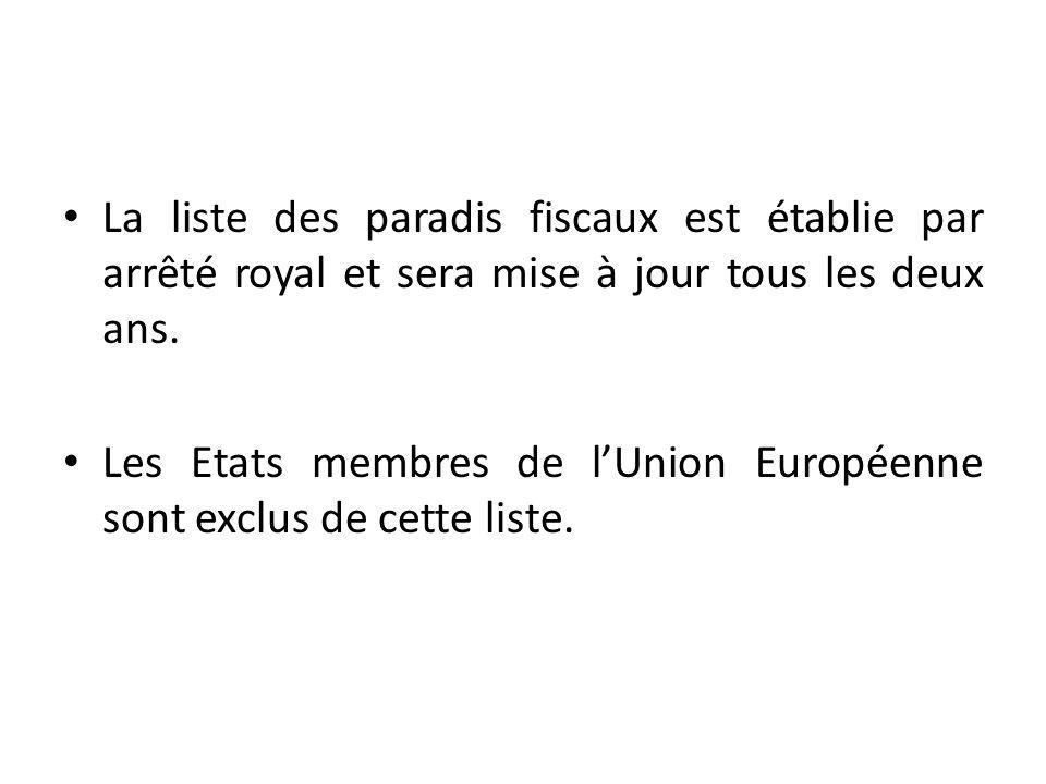 La liste des paradis fiscaux est établie par arrêté royal et sera mise à jour tous les deux ans.