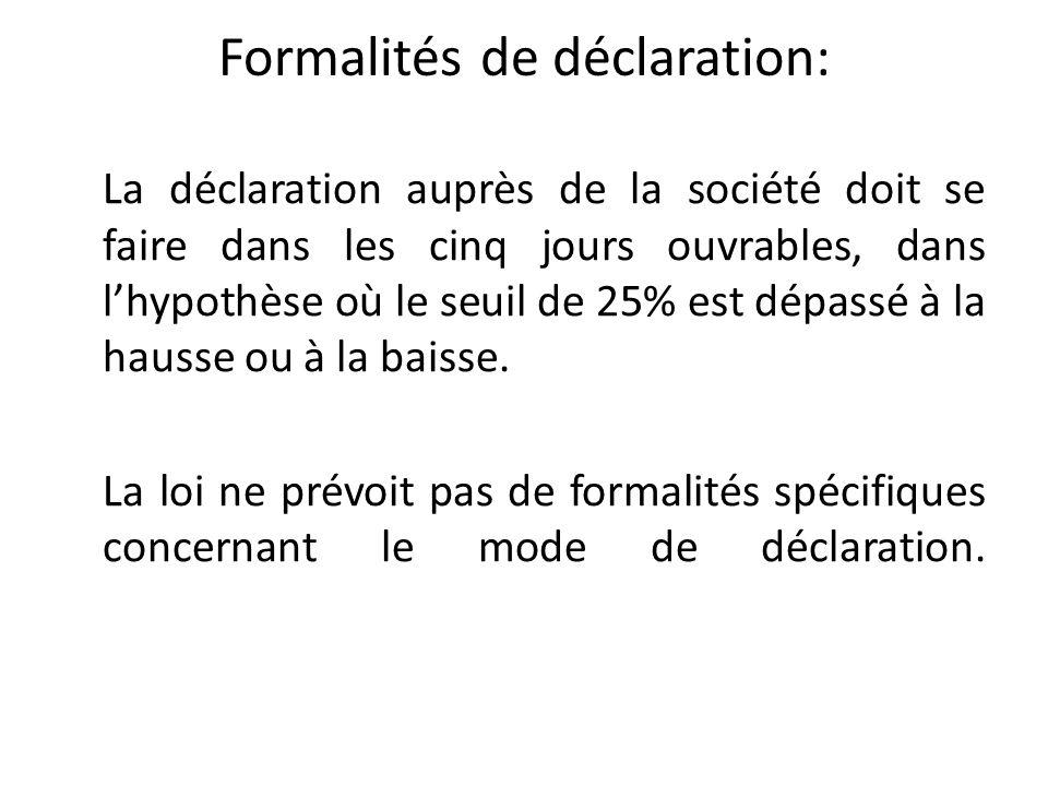 Formalités de déclaration: