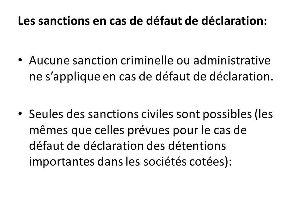 Les sanctions en cas de défaut de déclaration: