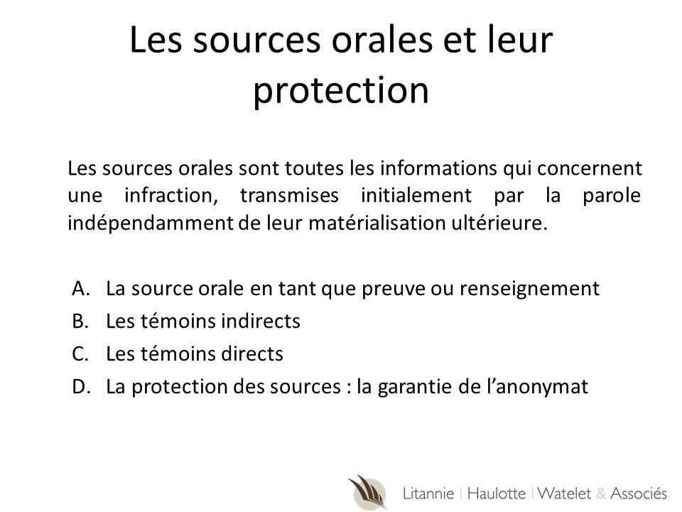 Les sources orales et leur protection