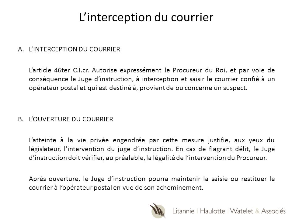 L'interception du courrier