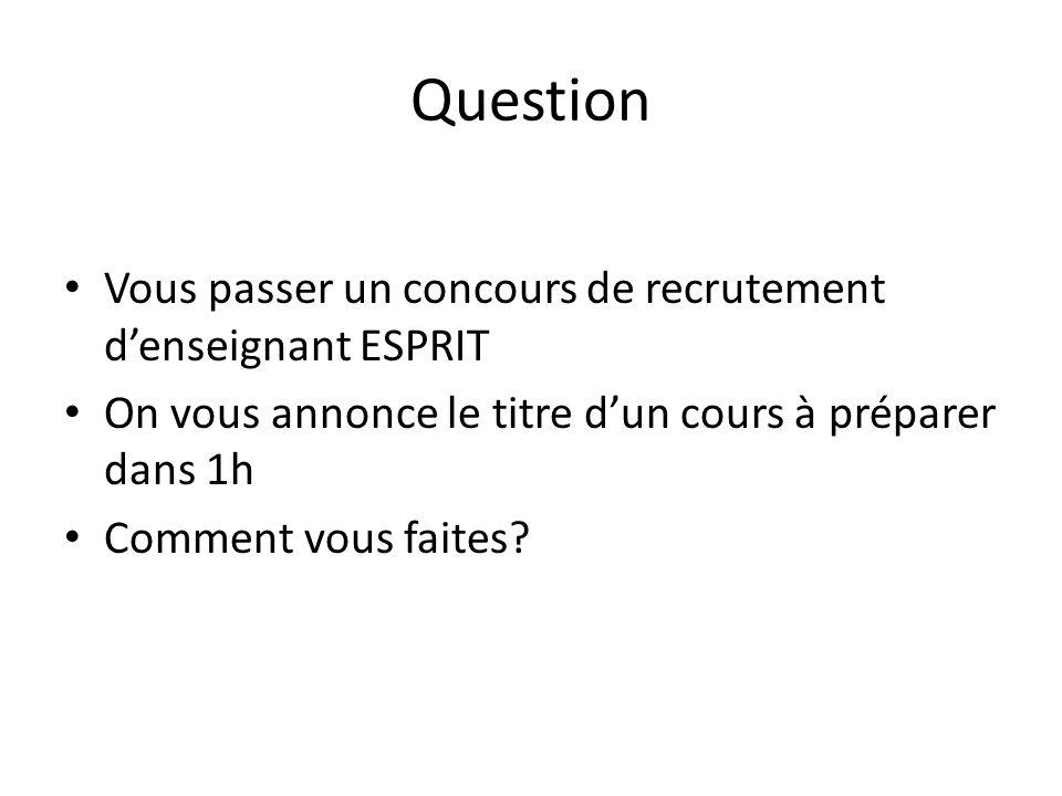Question Vous passer un concours de recrutement d'enseignant ESPRIT