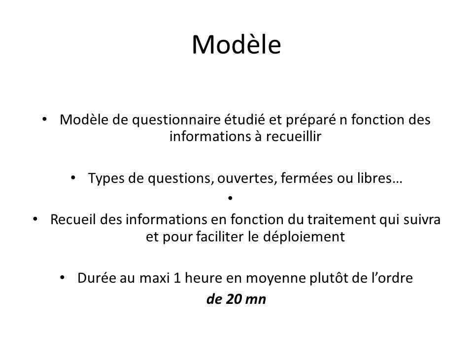 Modèle Modèle de questionnaire étudié et préparé n fonction des informations à recueillir. Types de questions, ouvertes, fermées ou libres…