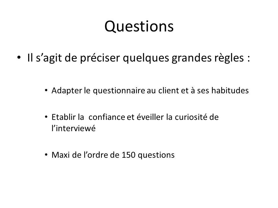 Questions Il s'agit de préciser quelques grandes règles :