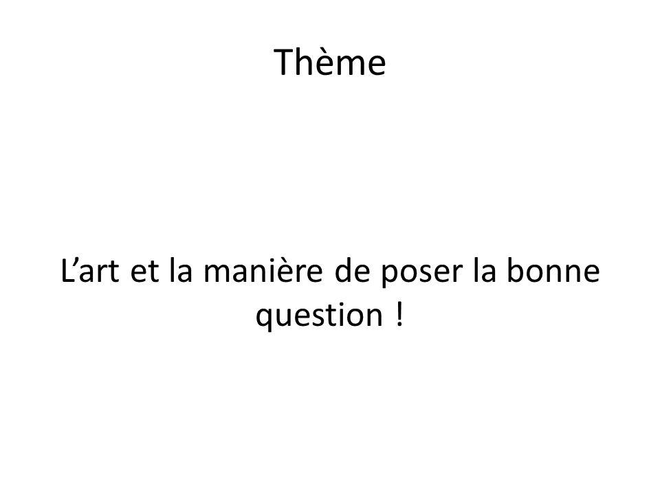 L'art et la manière de poser la bonne question !