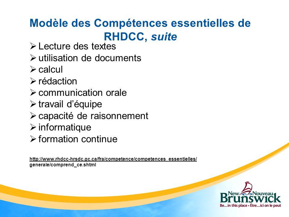 Modèle des Compétences essentielles de RHDCC, suite