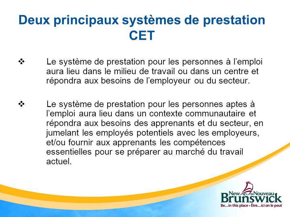 Deux principaux systèmes de prestation CET