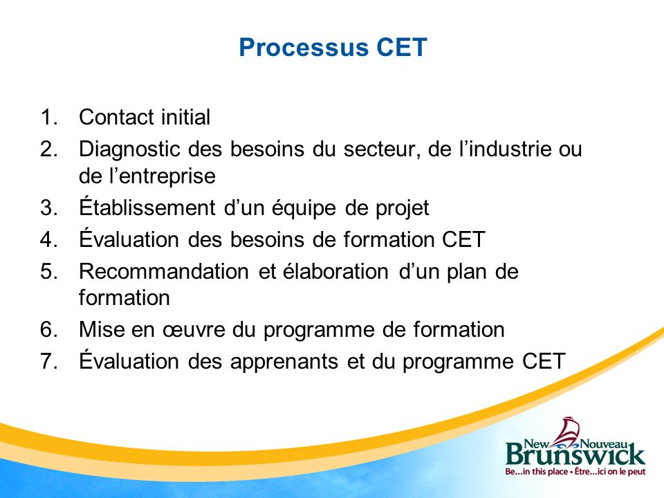 Processus CET Contact initial