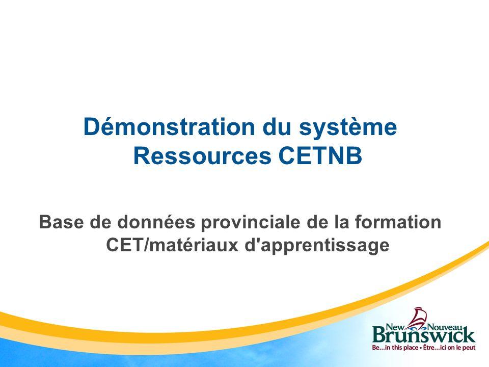 Démonstration du système Ressources CETNB
