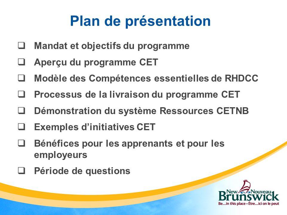 Plan de présentation Mandat et objectifs du programme