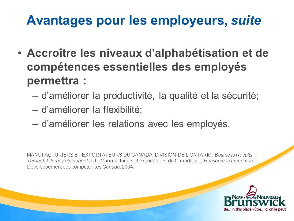 Avantages pour les employeurs, suite