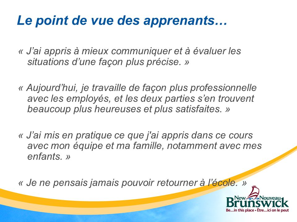 Le point de vue des apprenants…