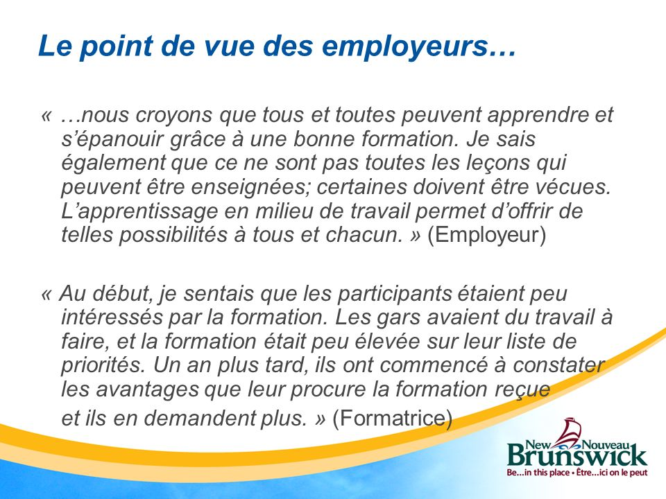 Le point de vue des employeurs…
