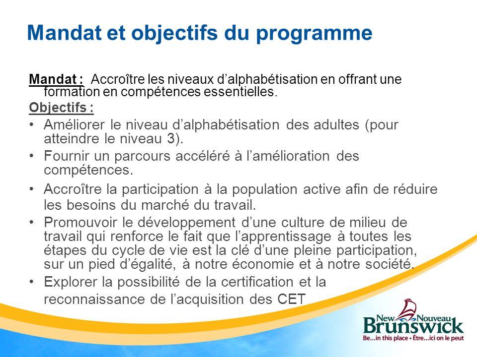 Mandat et objectifs du programme