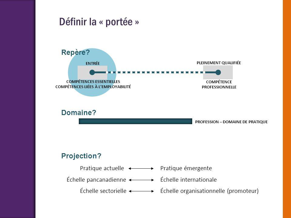 Définir la « portée » Repère Domaine Projection Pratique actuelle