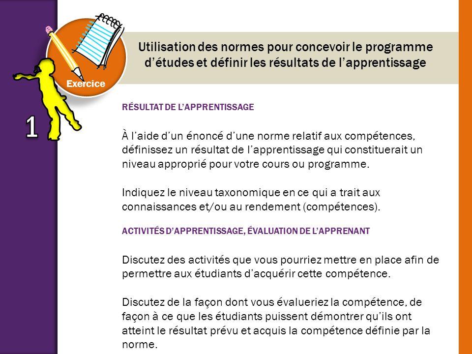 Utilisation des normes pour concevoir le programme d'études et définir les résultats de l'apprentissage