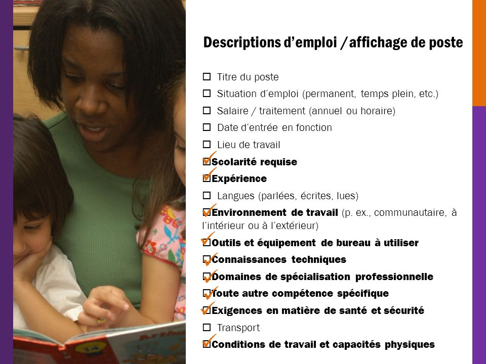          Descriptions d'emploi /affichage de poste