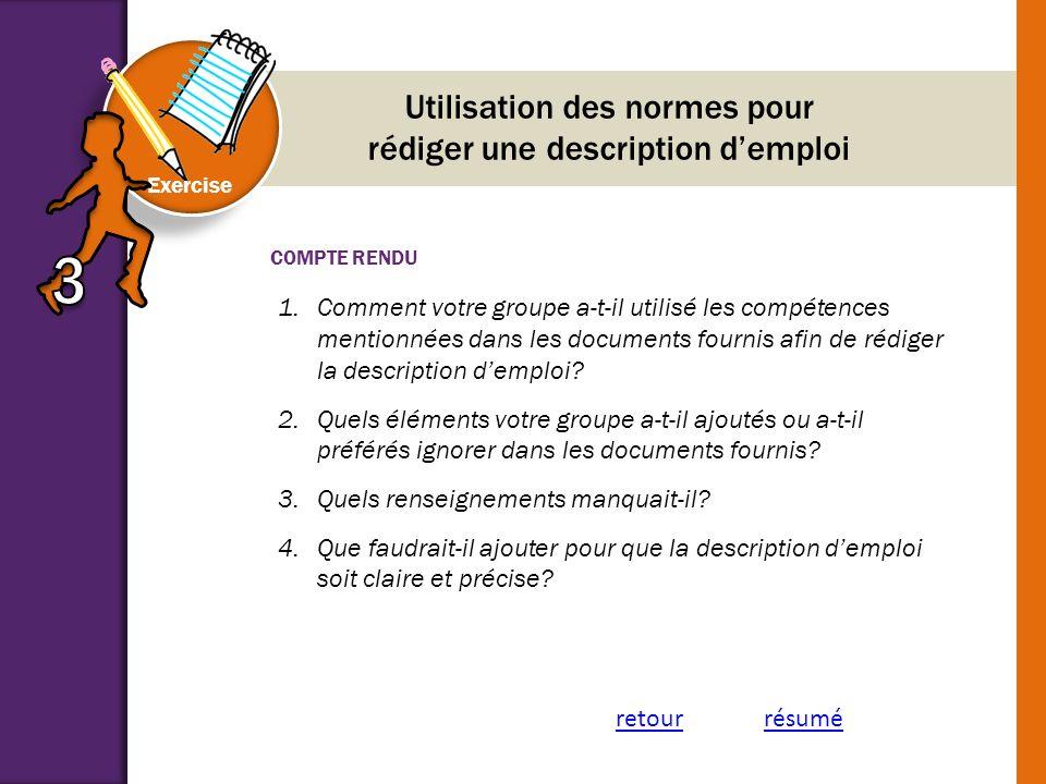 Utilisation des normes pour rédiger une description d'emploi