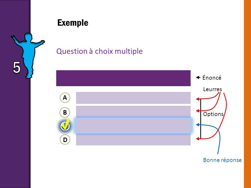 5 Exemple Question à choix multiple A B C D