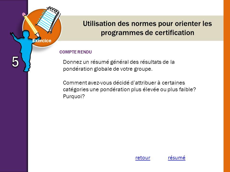 Utilisation des normes pour orienter les programmes de certification