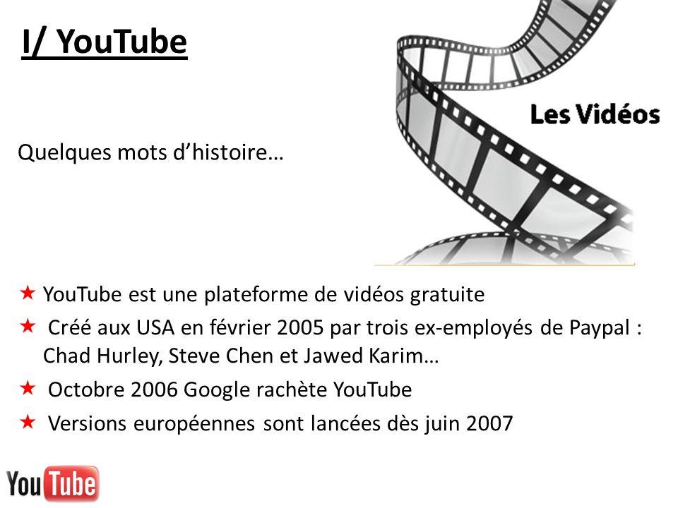 I/ YouTube Quelques mots d'histoire…