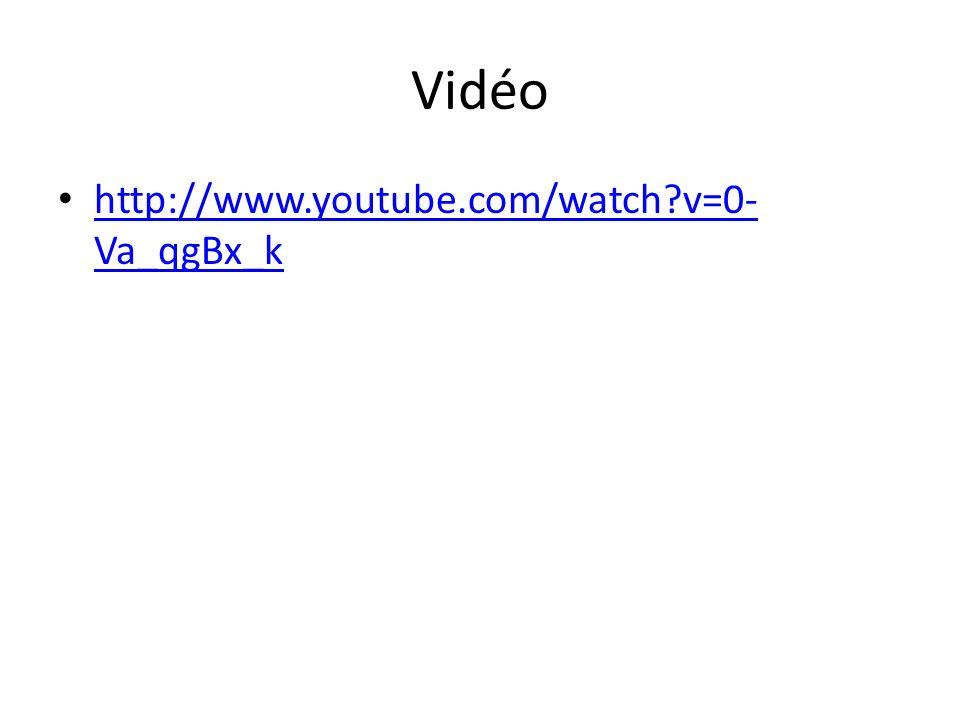 Vidéo http://www.youtube.com/watch v=0-Va_qgBx_k