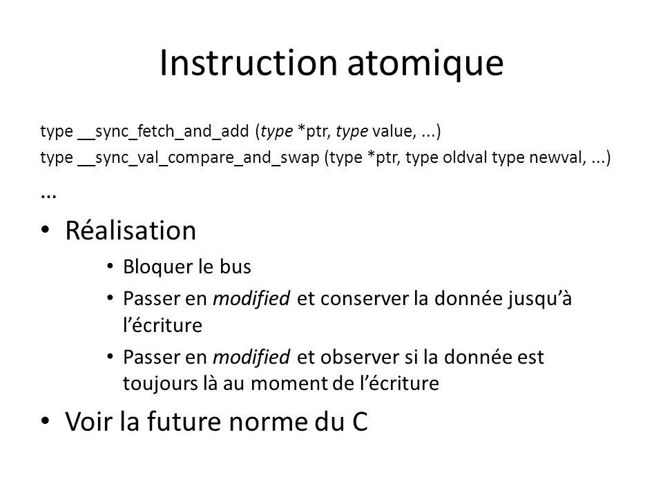 Instruction atomique Réalisation Voir la future norme du C …