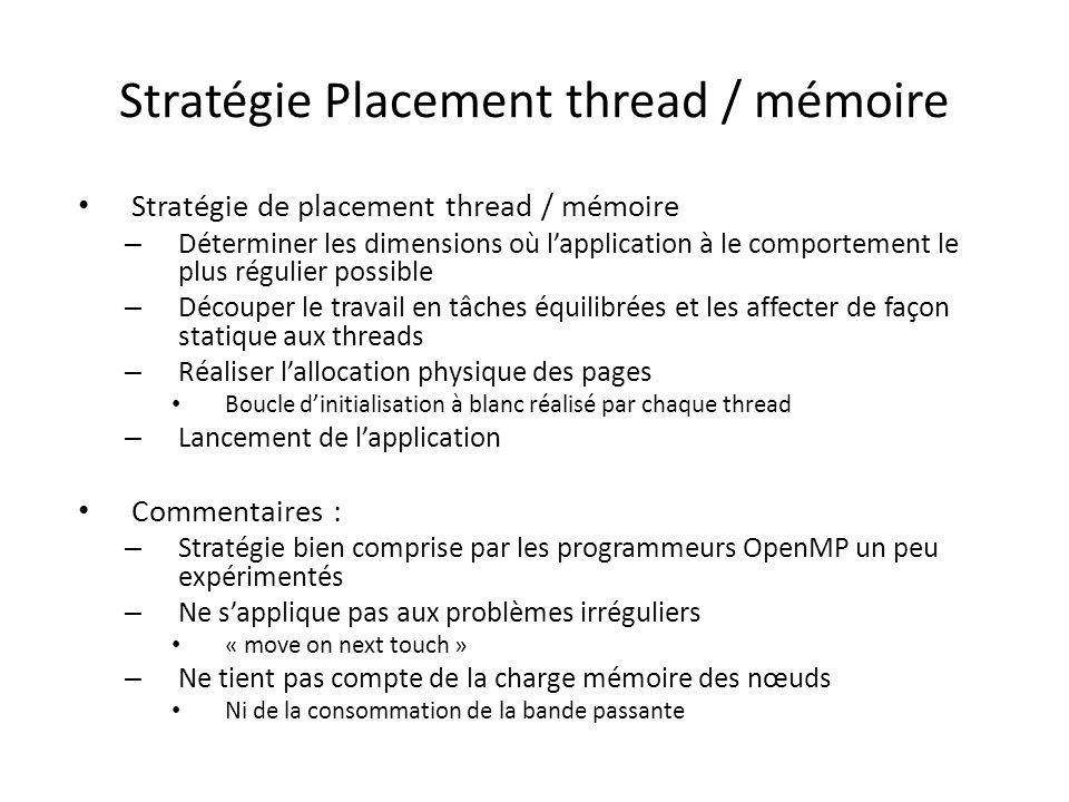 Stratégie Placement thread / mémoire