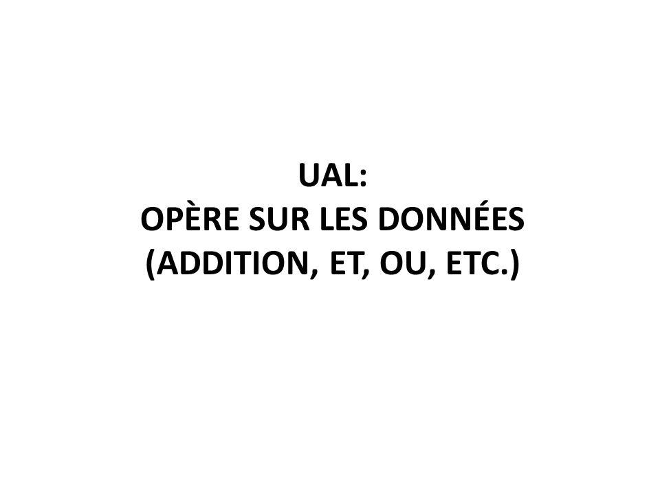 UAL: opère sur les données (addition, ET, ou, etc.)