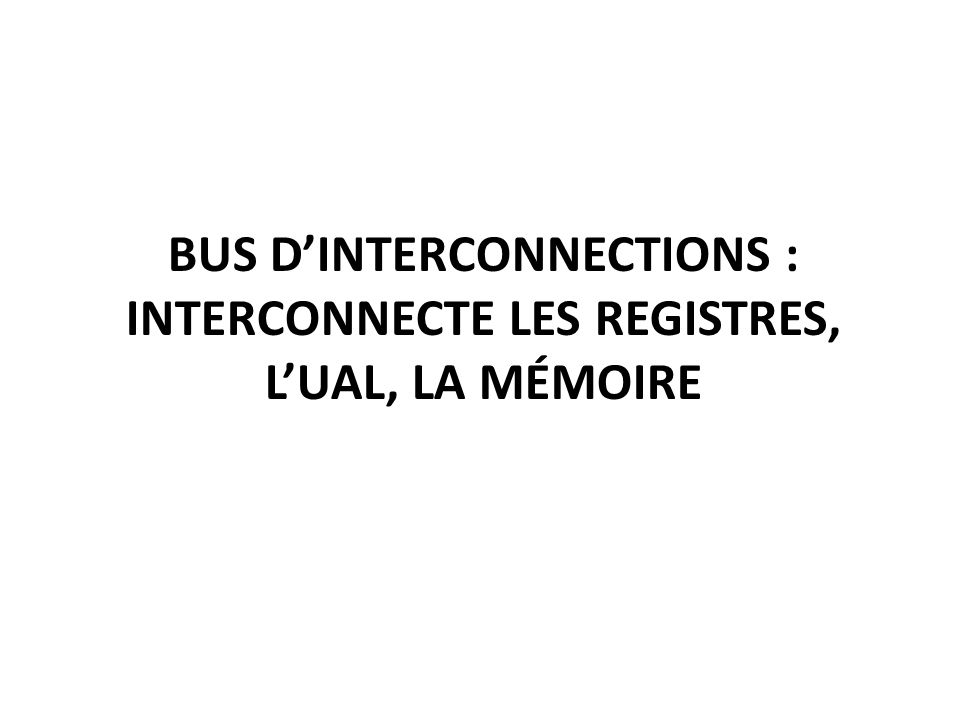 Bus d'Interconnections : Interconnecte les registres, l'UAL, la mémoire