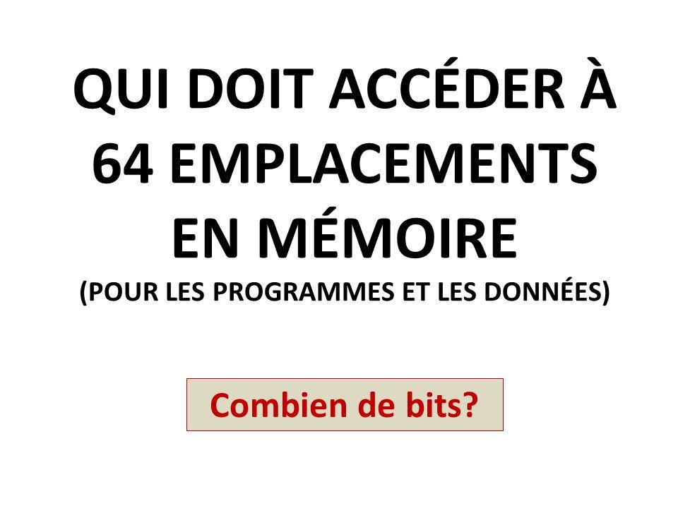 Qui doit accéder à 64 emplacements en mémoire (pour les programmes et les données)