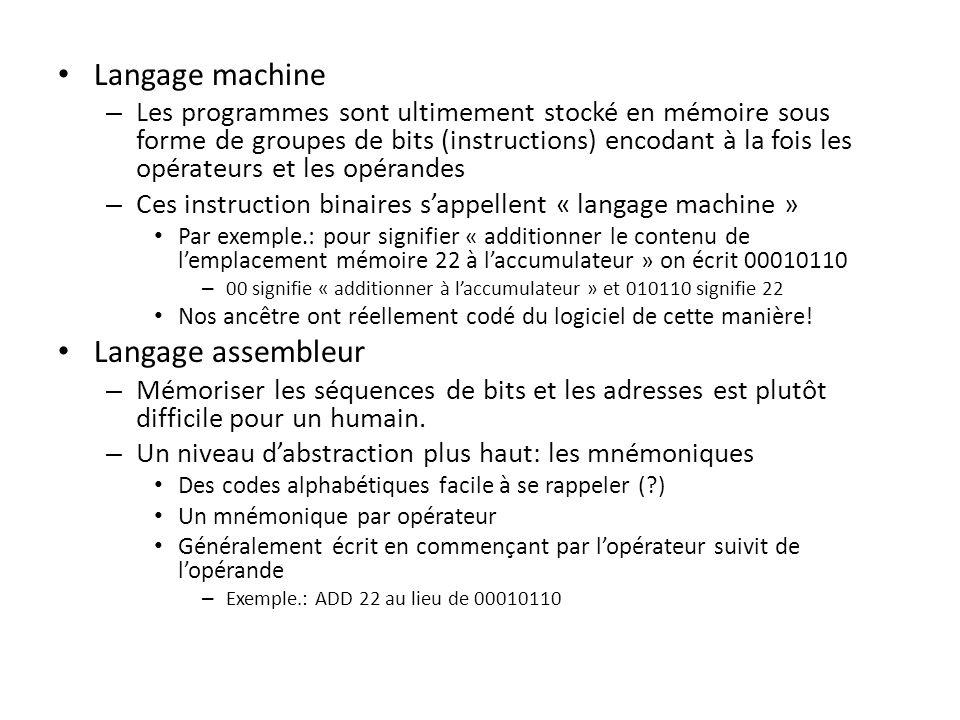 Langage machine Langage assembleur