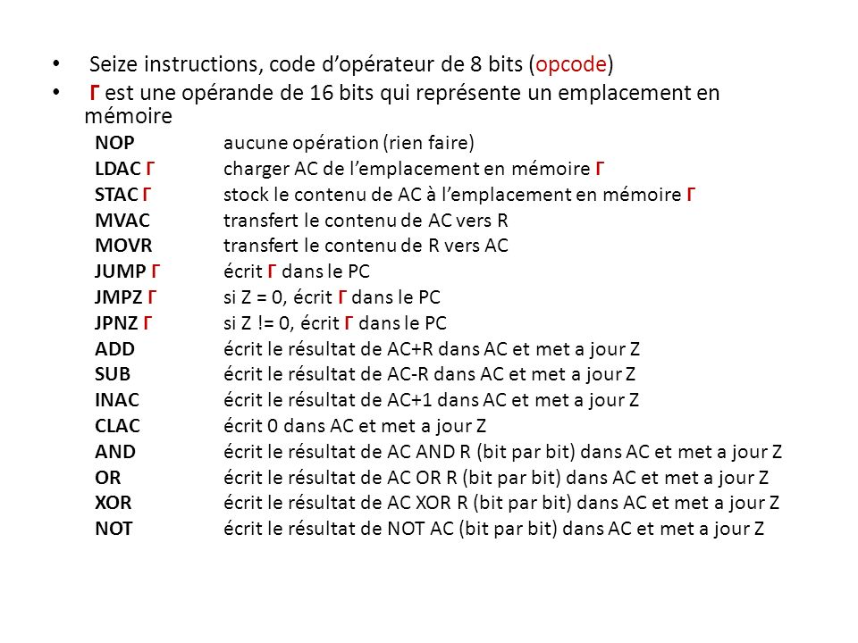 Seize instructions, code d'opérateur de 8 bits (opcode)