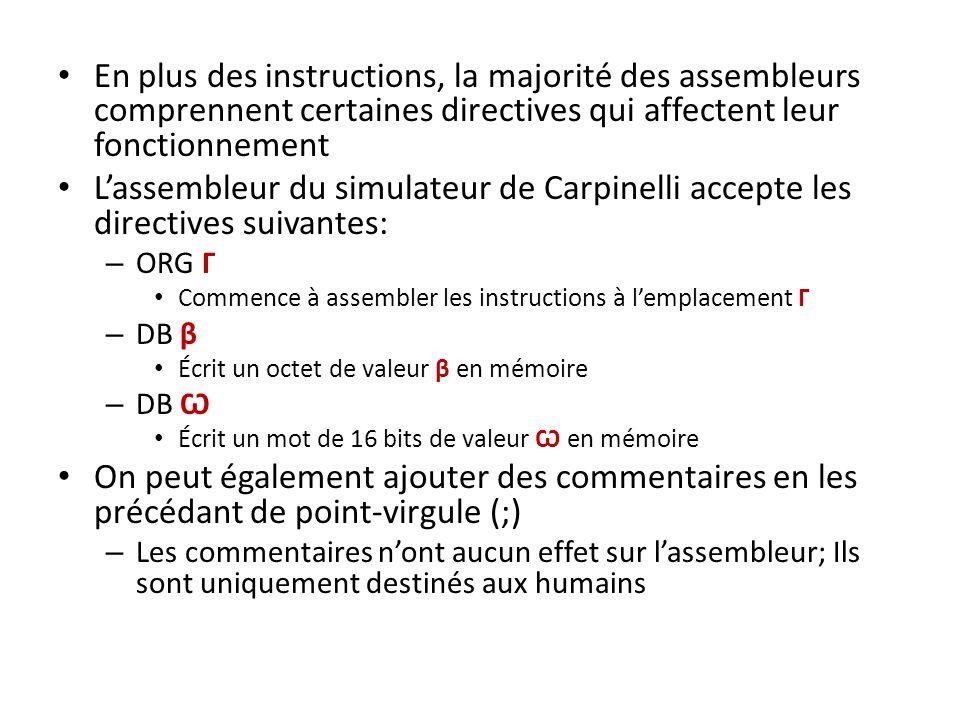 En plus des instructions, la majorité des assembleurs comprennent certaines directives qui affectent leur fonctionnement