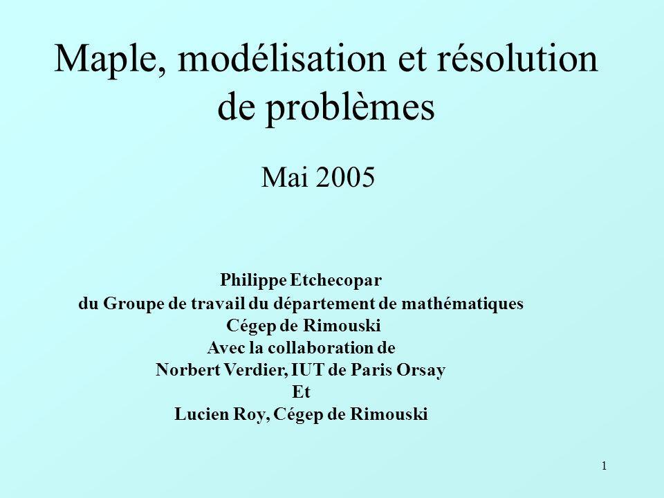 Maple, modélisation et résolution de problèmes