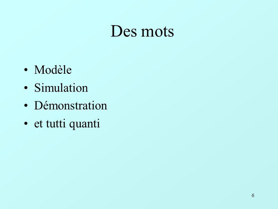 Des mots Modèle Simulation Démonstration et tutti quanti